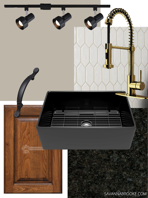 Black wood and gold kitchen