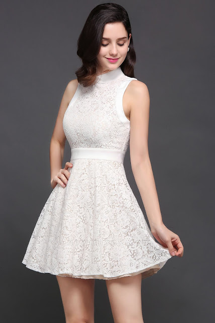 Princess High neck Knee-length White Cute Quince Dama Dress