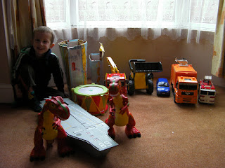 outsize toys, vehicles, dinosaurs, drum and aircraft carrier
