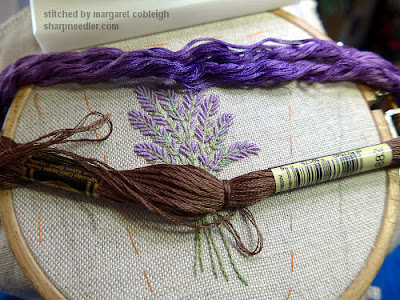 Coordinating colours for the Lavender and Bees Scissors Keeper: brown and purple
