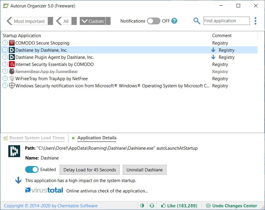 Autorun Organizer App Details Screenshot
