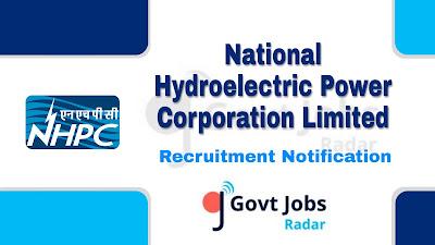 NHPC Recruitment Notification 2019, NHPC Recruitment 2019 Latest, govt jobs in india, central govt jobs, latest NHPC Recruitment update