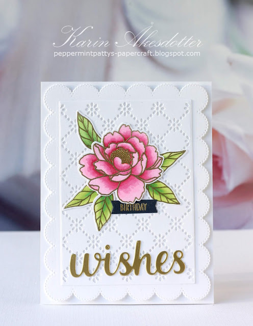 Sunny Studio Stamps: Pink Peonies Frilly Frame Dies Love Monkey Wishes Word Die Birthday Card by Karin Akesdotter