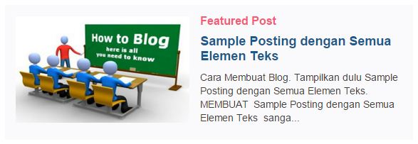 Modifikasi Featured Post Bawaan Blogger