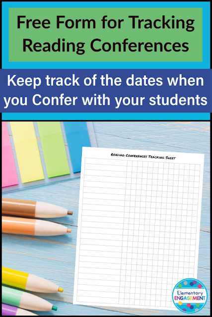This free form will help you keep track of whose turn it is for an independent reading conference.  Just type (or write) in your students names and list the dates of the reading conferences.