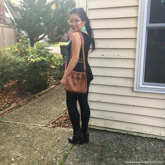OOTD Statement Scarf and Bucket Bag Gamiss Review - Andrea Tiffany A Glimpse of Glam