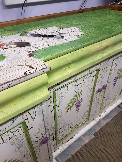 lavender and lime green Cottage painted cabinet