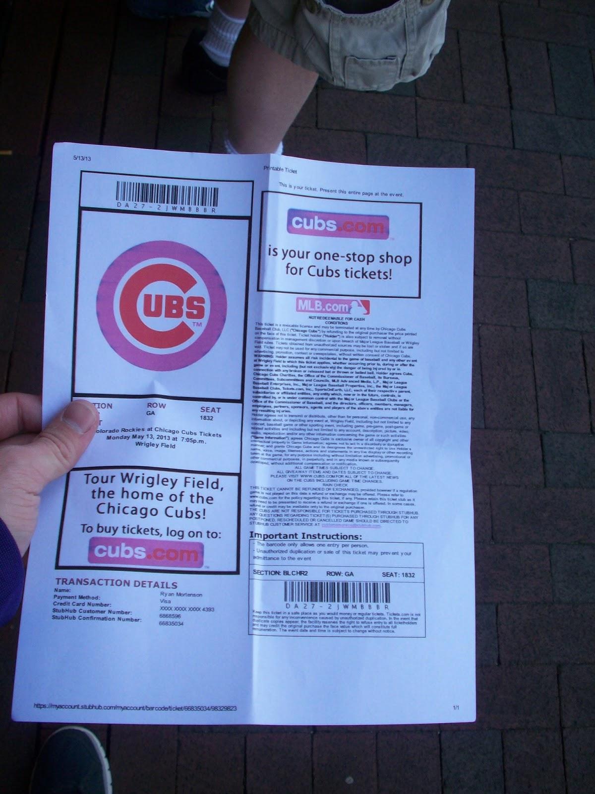 photo relating to Stubhub Printable Tickets named BaseBlog: Sport 3 - 5/13 at Wrigley Business
