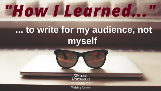How I learned to write for my audience, not myself: Cool sunglasses atop a closed laptop.
