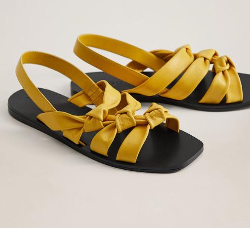 Mango - Sandale femei de piele naturala cu talpa joasa galbene