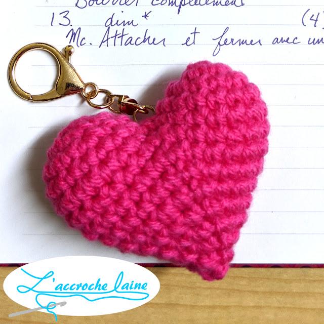 L'accroche laine - Porte clé Coeur