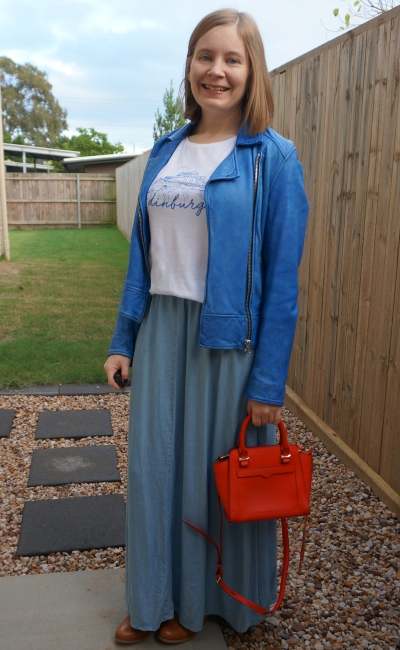 chambray maxi skirt and graphic tee with cobalt leather jacket with red micro avery tote bag | away from blue