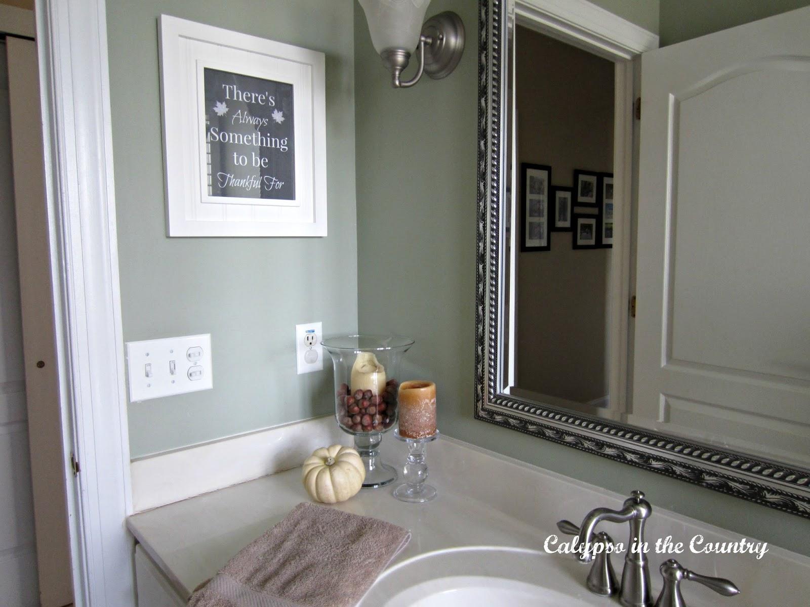 Bathroom Vignette with Thanksgiving art