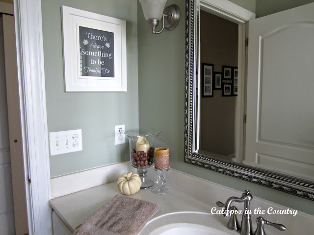 Bathroom Vignette with Thanksgiving art