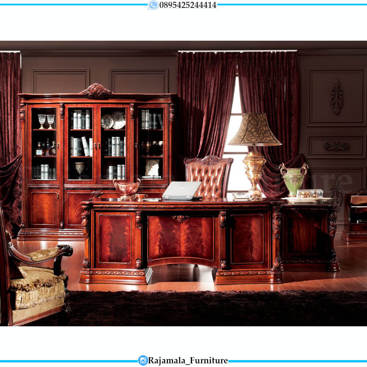 Best Sale Meja Kantor Mewah Jati Jepara Luxury Classic Furniture Jepara RM-0578