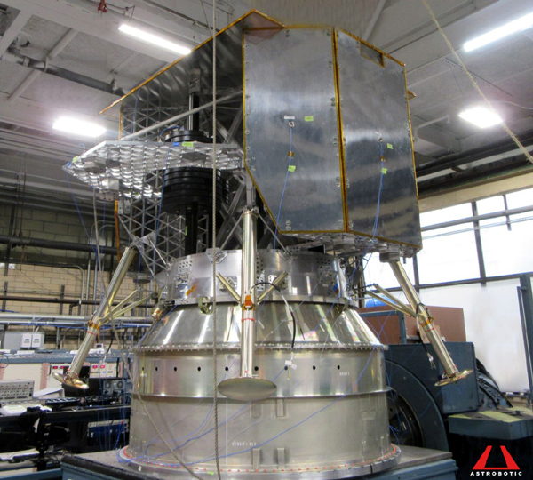The full-scale Structural Test Model for Astrobotic's Peregrine lunar lander...which is set to head to the Moon aboard United Launch Alliance's Vulcan Centaur rocket next summer.
