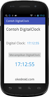 Hasil  Contoh Widget DigitalClock Android