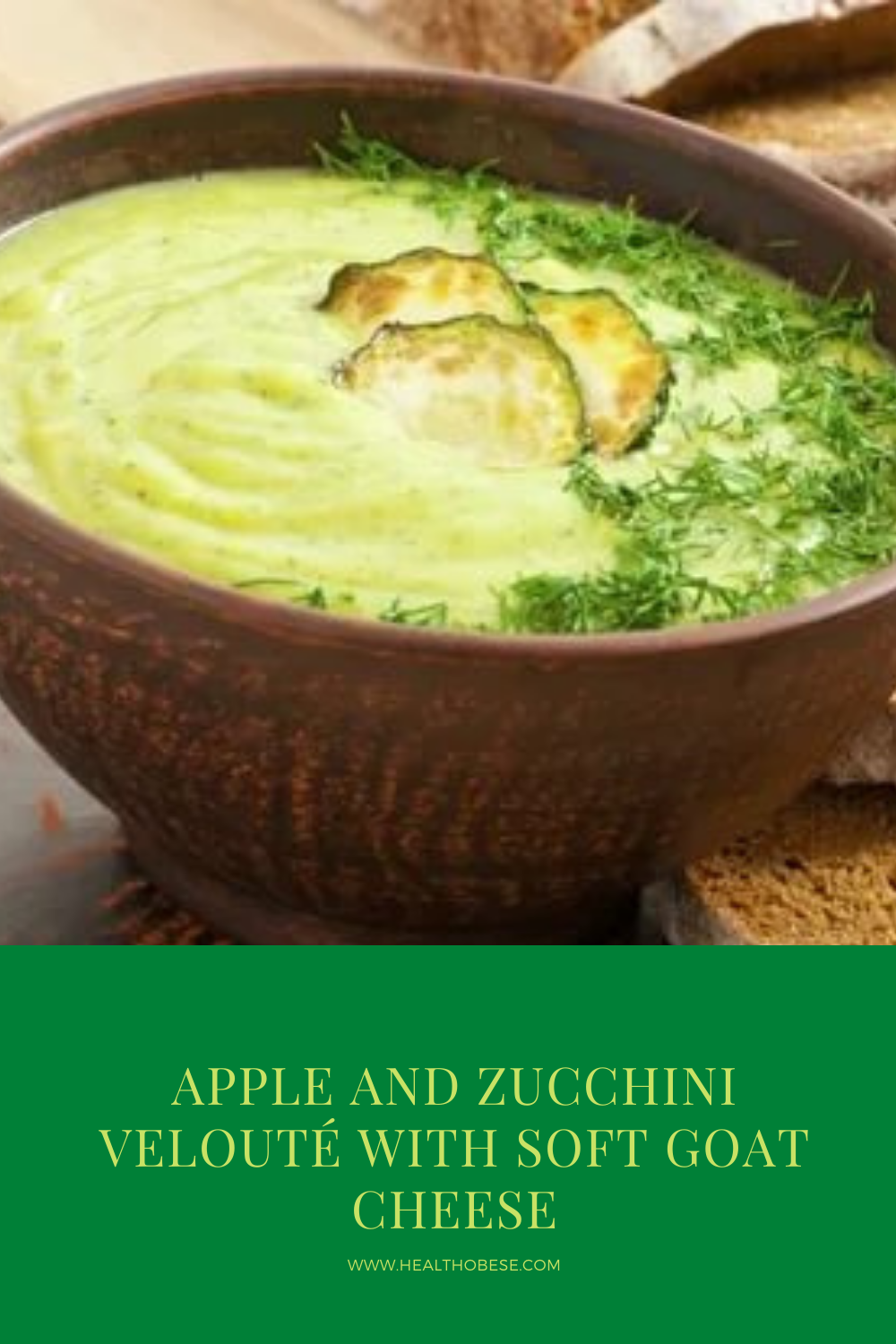 Apple and zucchini velouté with soft goat cheese