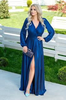Rochie Brise Brittney albastru metalic lunga eleganta1