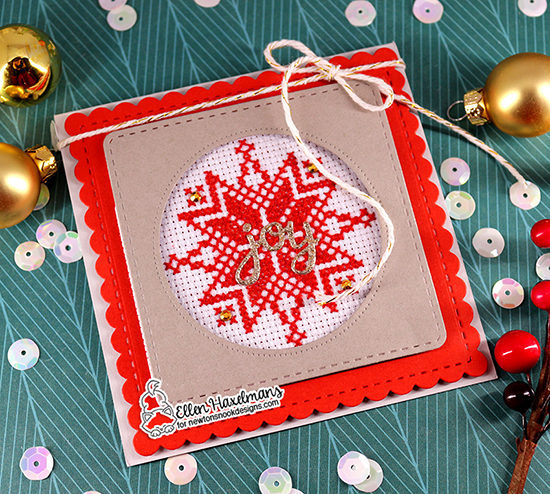 Snowflake card with Frame Dies by Ellen Haxelmans | Frames Squared Die Set and Snow Globe Shaker Die Set by Newton's Nook Designs #newtonsnook #handmade
