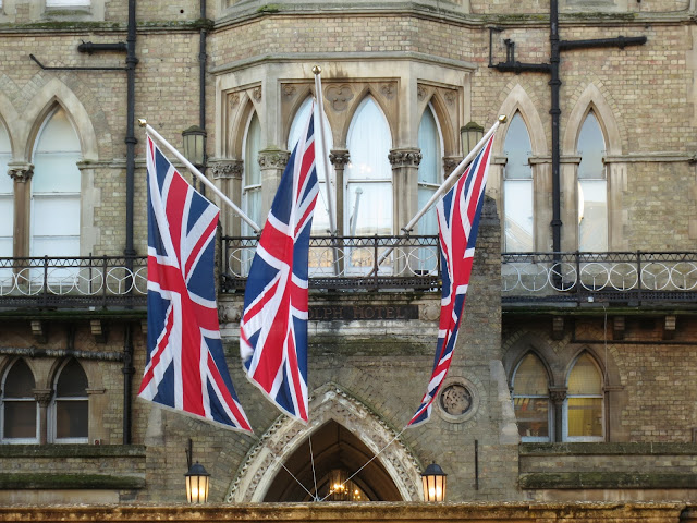 Three Union Jacks outside the Randolph Hotel in Oxford