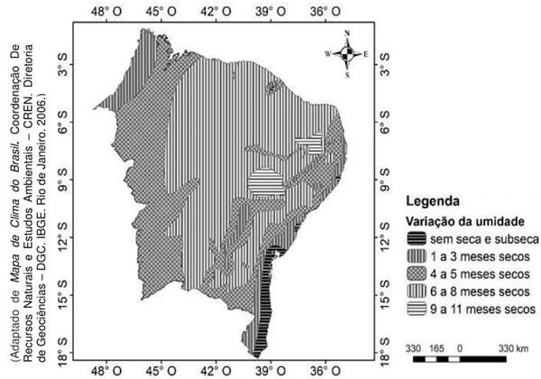 O mapa a seguir mostra a variação da umidade por meses em relação à distribuição das chuvas.