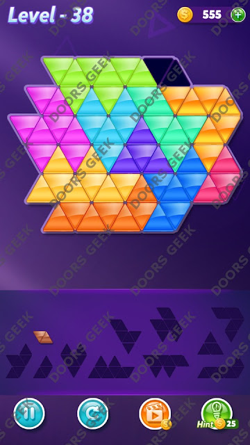 Block! Triangle Puzzle Challenger Level 38 Solution, Cheats, Walkthrough for Android, iPhone, iPad and iPod