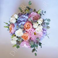 menyasszonyi csokor angol rózsával, hortenziával, vintage
