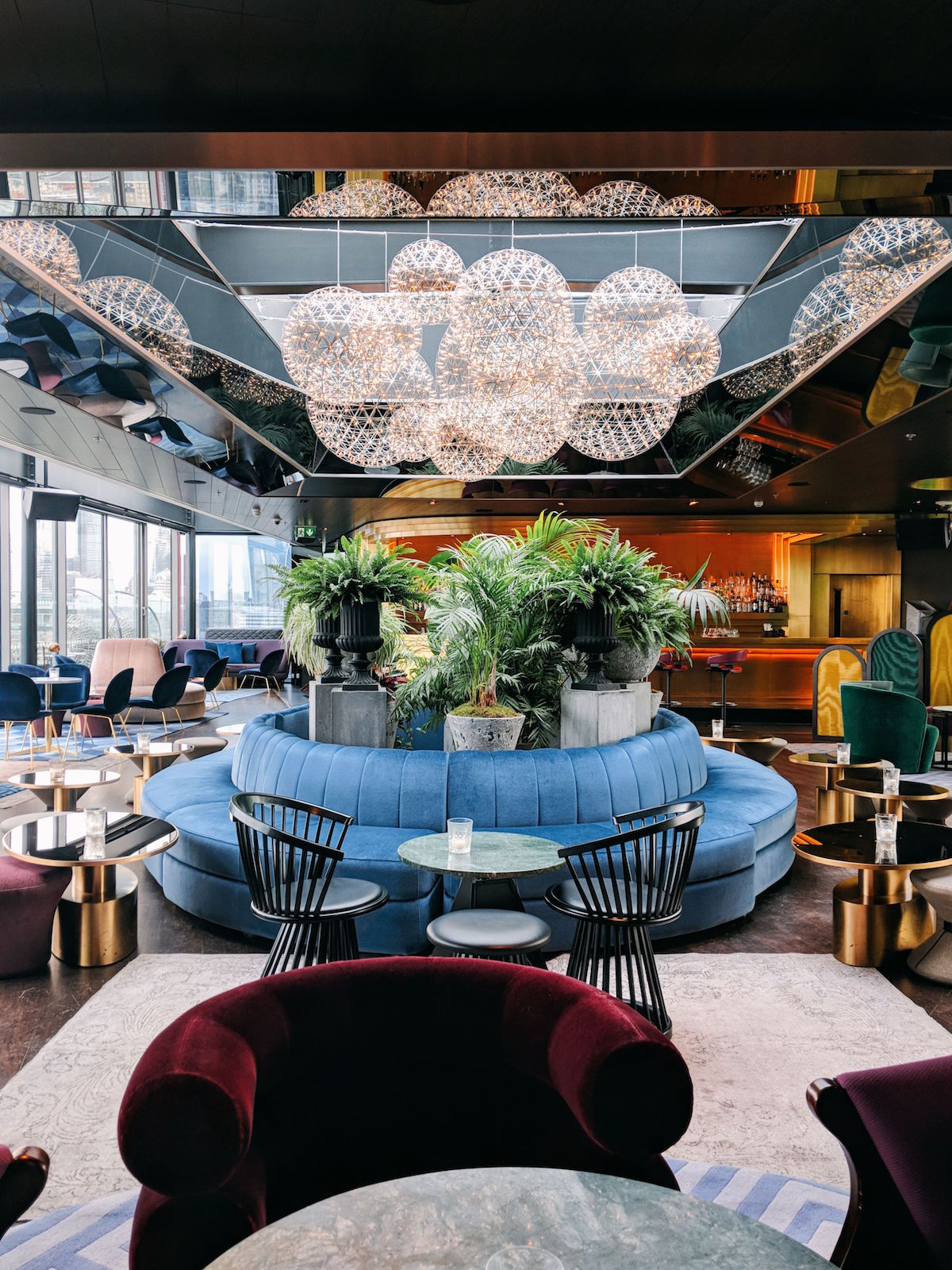 The chic & sleek interiors of the Rumpus Room rooftop bar at the Mondrian London