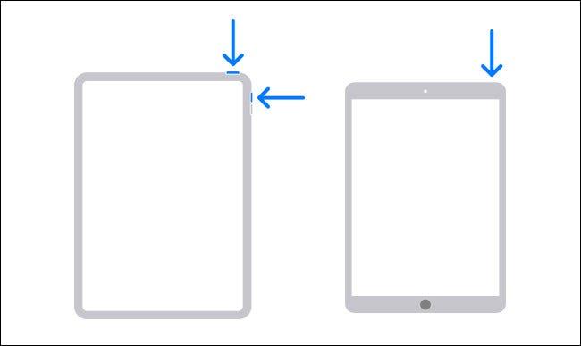 رسم تخطيطي يوضح أزرار الأجهزة التي تحتاج إلى الضغط عليها لإغلاق جهاز iPad.