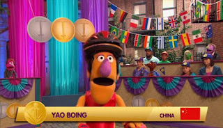 The second competitor is from China in Pogo Games. Sesame Street Episode 4421, The Pogo Games, Season 44.