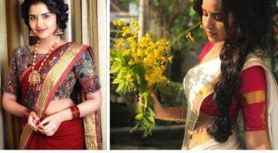 Anupama Parameswaran in Saree - Navel Show of Actress Anupama Parameswaran