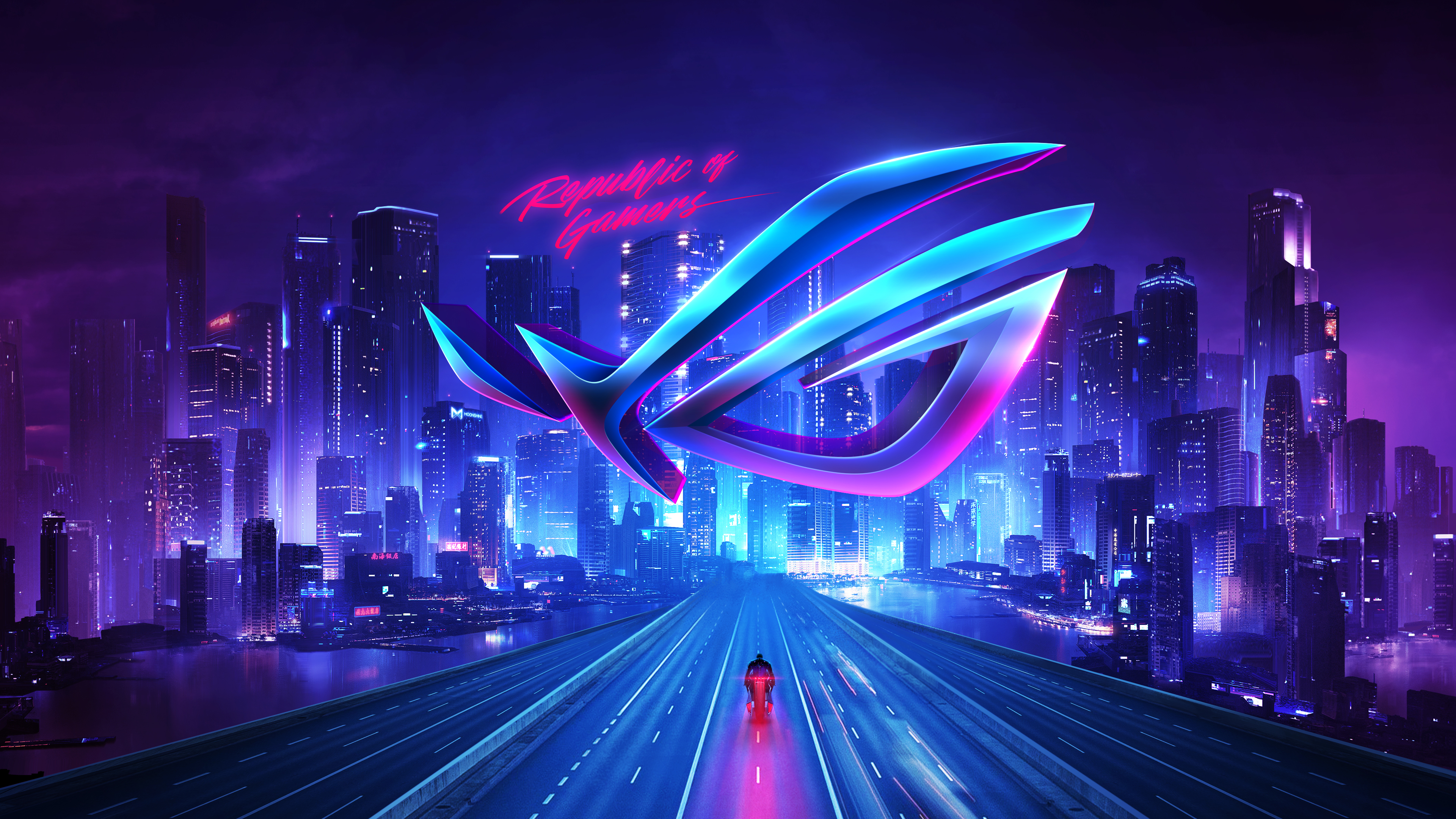 ASUS ROG, Republic of Gamers, Neon, City, 4K, Technology