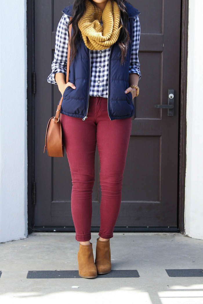 Mustard Scarf + Maroon Skinnies + Gingham Button up + Blue Vest + booties