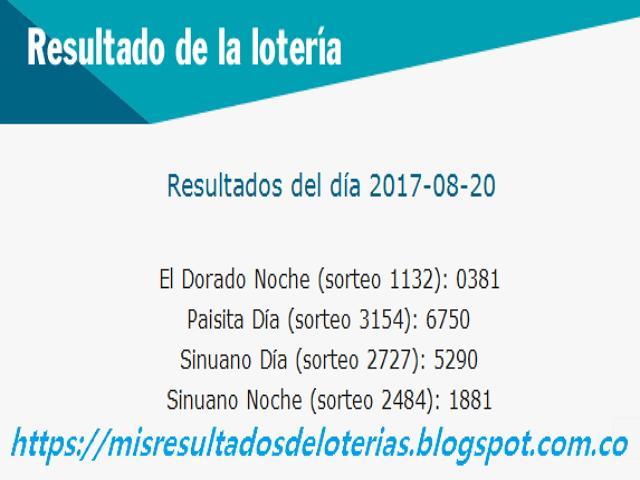 Como jugo la lotería anoche | Resultados diarios de la lotería y el chance | resultados del dia 20-08-2017