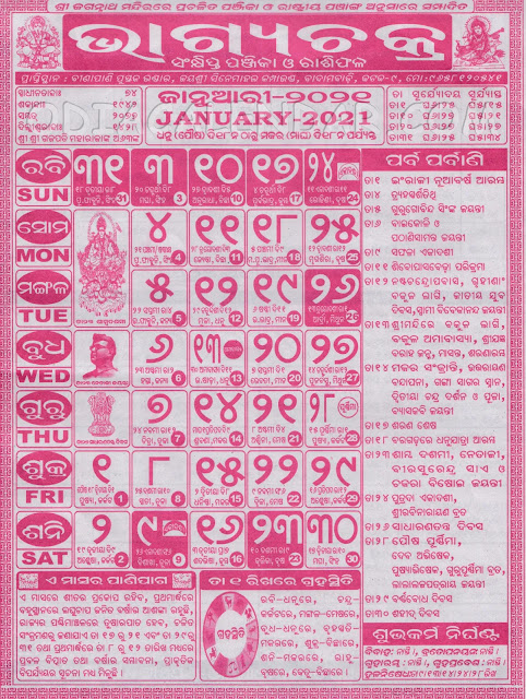 January Month Bhagyachakra Calendar 2021
