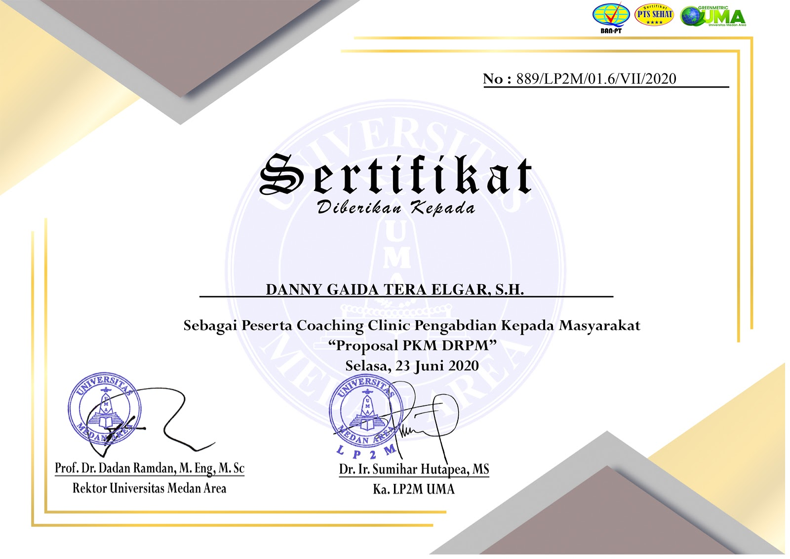 Sertifikat Proposal PKM DRPM Universitas Medan Area (UMA) | Selasa, 23 Juni 2020