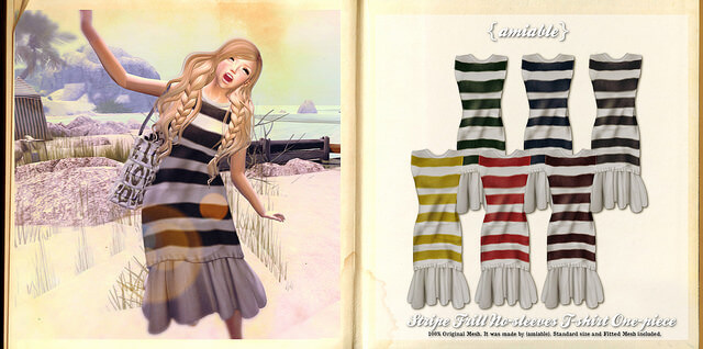 {amiable}Stripe Frill  No-sleeves T-shirt One-piece