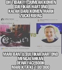jumlah komentar sulfikar  mengalahkan  mark Zuckerberg facebook