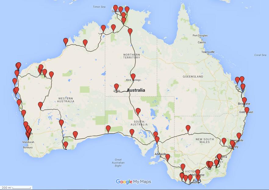 Australia Driving Map.Leora Lore Honeymoon 3 Australia The Map Driving