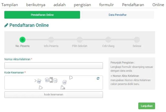 Formulir pendaftaran SD online