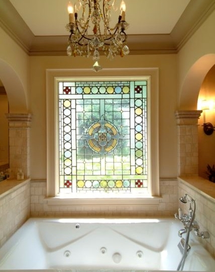 To Da Loos Stained Glass Windows In The Bathroom