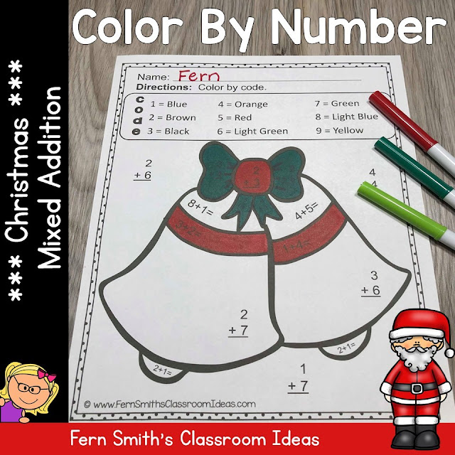 FIVE Color By Number Christmas Mixed Addition Facts!