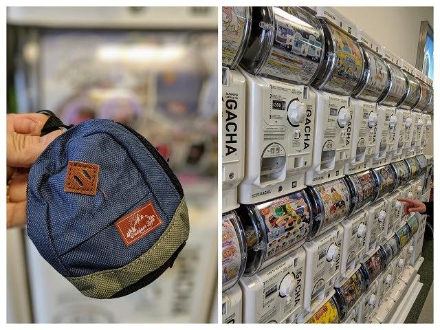 Japan in April: Capsule toy machines and mini-backpack at Komatsu Airport