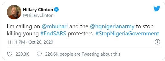 'Stop killing young protesters' — Hillary Clinton tackles Buhari