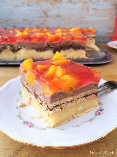 Leniwe ciasto bez pieczenia z owocami budyniowe, na herbatnikach z galaretką przepis