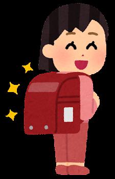 赤いランドセルを背負う小学生のイラスト(女の子)