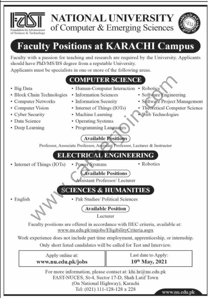 www.nu.edu.pk/jobs - FAST National University of Computer & Emerging Sciences Jobs 2021 in Pakistan