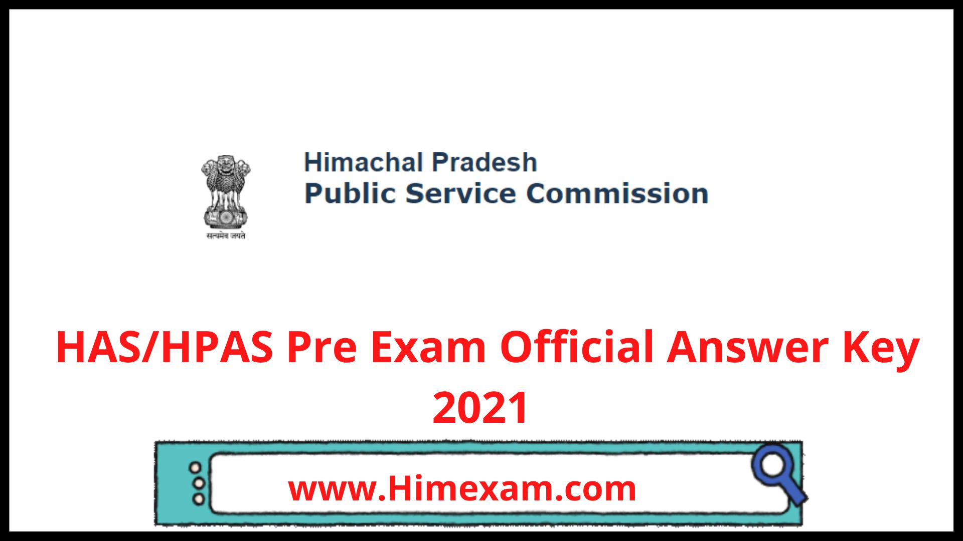 HAS/HPAS Pre Exam  Official Answer Key 2021