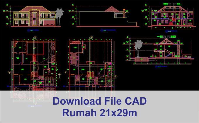 download rumah 21x29 File AutoCad